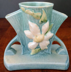 Roseville Clematis Series Pottery 192-5 1944 Blue Perfect Owned 25+ Years