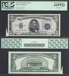 5 1934=silver Certificate=lincoln=blue Seal=cutting Error=pcgs Vy Ch. New 64ppq