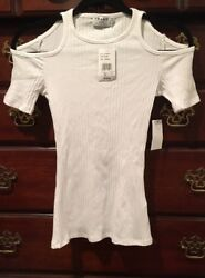 Nwt Frame Shirt Womens White Ribbed Knit Cold Shoulder Casual S/s Top Xs Rt 135