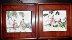 Pair Of Vintage Chinese Rosewood Square Hanging Frames Inserted Porcelain 西厢记