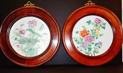 Pair Of Chinese Rosewood Hanging Frames Inserted Famille Rose Lotus Porcelain 粉彩