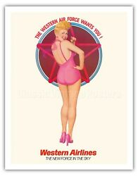B. Grable Pin Up - Western Airlines - Gomez 1970 Vintage Travel Poster Art Print