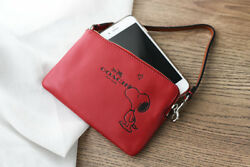 Coach X Peanuts Snoopy Kiss Zip Wristlet Red Leather Wallet Purse Bag Gift Box