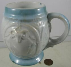Antique 1900and039s Advertising Beer Mug With Goat Heads Williams Youngstown Oh