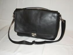 COLE HAAN Black Leather Briefcase Messenger Bag A11118 with Removable Strap