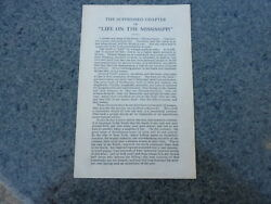 The Suppressed Chapter From Life On The Mississippi By Mark Twain First Printing