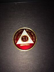 Aa Coin - Translucent Burgundy And Pearl On Gold Tri-plate - 11 Year Xl