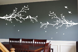 2 x Large Tree Branches Wall Decals Deco Art Sticker Mural with 20 Birds
