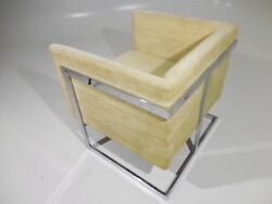 Vintage 70and039s Baughman Style Compact Cube Chrome Lounge Chair Mid Century Modern