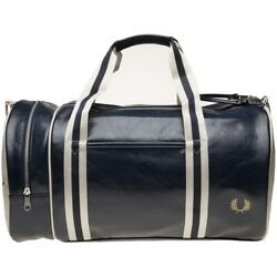 New Mens Fred Perry Blue Classic Barrel PvcCotton Trim Holdall Duffles