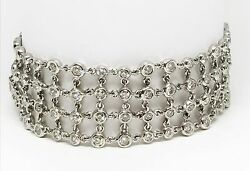 18K White Gold 4 Row Hand Made Bezel Set Diamond Bracelet128 Stones Dia 5.80 CT