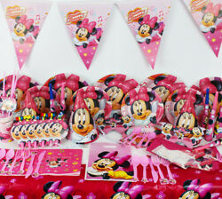 Minnie Mouse Party Supplies Birthday Decorations Plates Napkins Cup Tablecover