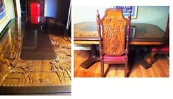 Philippines Hand Carved Dinner Table 1900-1950 2 Full Chairs 4 Extra Backs +