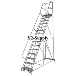 New Perforated 24w 11 Step Steel Rolling Ladder 14d Top Step