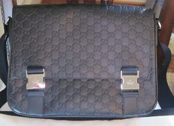 REDUCED! NWT $1790 GUCCI SIGNATURE MEN'S MESSENGER LEATHER BAG BLACK CLR ITALY