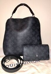 SET LOUIS VUITTON Mahina Babylone PM & Iris Wallet Noir Crossbody Handbag 2Way
