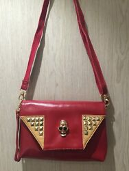 Women lady evening leather bag skull clutch wine red party satchel_Clearance