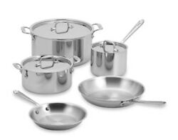 All-clad Stainless Steel 8 Piece Cookware Set, Pot, Pan, Lid, Dishwasher Safe