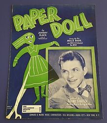 Vintage Sheet Music Paper Doll 1940s By Johnny Black Featured By Frank Sinatra