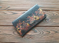 Genuine Fine Leather Black Womens Unisex Wallet Hand Tooled Party Purse