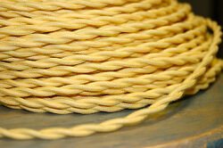 Yellow Twisted Cotton Cloth Covered Wire Vintage Style Power Cord Antique Lamps