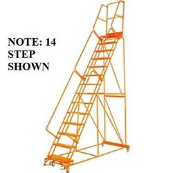 New Perforated 24w 13 Step Steel Rolling Ladder 21d Top Step W/handrail
