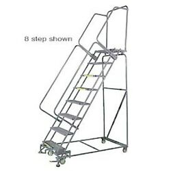 New 9 Step 24wx70d Stainless Steel Rolling Safety Ladder - Perforated Tread