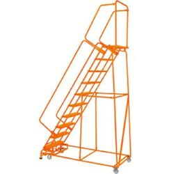 New Perforated 24w 10 Step Steel Rolling Ladder 21d Top Step W/ Handrails