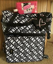 Victoria's Secret PINK Wheelie Luggage Duffle Makeup Bag Lingerie Bag 4-pc. New!