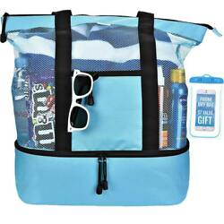 Mesh Beach Tote Bag for Women w Insulated Picnic Cooler and Top Zipper - Large