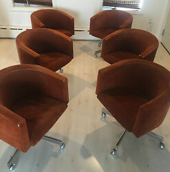 Set Of 6 Mid Century 1960and039s Stendig Asko Arm Chairs With Chrome Base And Casters