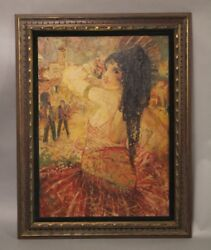 Antique Spanish Revival Oil Painting Of Dancing Signorina Vibrant Colors 10977