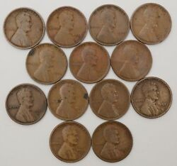 Lot Of 13 Coins - 1c Lincoln Wheat Small Cents Vg /t-937