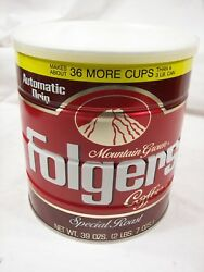 Vintage Folgers 39 Oz 1984 Coffee Can Sealed With Coffee L@@k