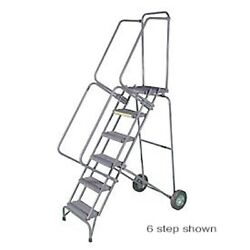 New 5 Step 16w Stainless Steel Fold And Store Rolling Ladder- Hd Serrated Grate