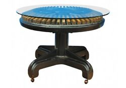 Unique Industrial Era Steampunk Dining Hall Center Table W/ Glass Top 55753
