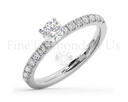 0.75 Carat Round Solitaire With Accents Diamonds Engagement Ring In 18k Gold
