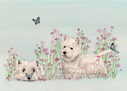 West Highland Terrier (westie)  with butterflies  Lynch signed art print