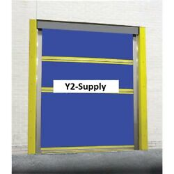 New Spring-loaded Roll-up Dock Door Blue Vinyl Panels And Vision Panel 8 X 8