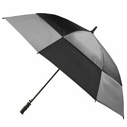 Totes Stormbeater Vented One-Touch Auto Open Golf Umbrella BlackCharcoal