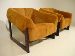 Pair Bohemian Percival Lafer Leather Lounge Chairs Mid Century Modern Gillon Era