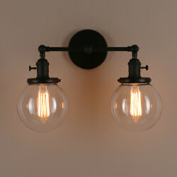 5.9 Retro Sconce Wall Light Twins Globe Shades Vintage Wall Lamp W/swicithes