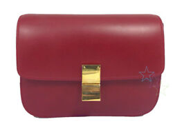 PRE-OWN AUTH CELINE CLASSIC MEDIUM BAG IN THE RED LEATHER AUTHENTIC