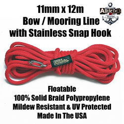 Docking Braid Dock Rope 11mm X 12.1m / 40ft Polyproplylene Bow Line Red