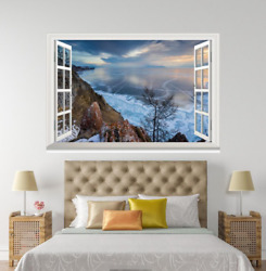 3D Ice Lake Nature 7 Open Windows WallPaper Murals Wall Print Decal Deco AJ WALL