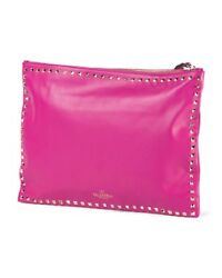 Valentino Rockstud Flat Studded Leather Clutch Bag Wristlet Fuchsia Pink $1395