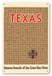 Texas Cattle Brands Lone Star State - 8in X 12in Vintage Metal Sign