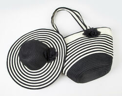 Women#x27;s Summer Floppy Paper Straw Sun Hat and Beach Tote Bag Set amp; Bag Only $10.99