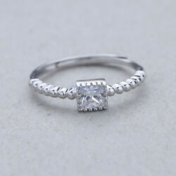 925 Sterling Silver Ring Square CZ Adjustable Open Band ThumbMidi Ring Finger