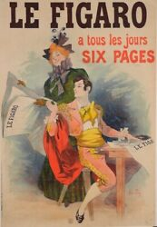 Original Vintage French Newspaper Poster For Le Figaro By Rene Pean Ca. 1900